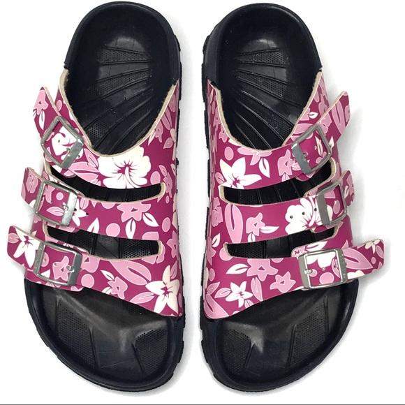 d20fad2e226d Birkenstock Shoes - Birkis Pink   White Floral Three Strap Sandals
